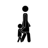 Woman walking with boy icon Royalty Free Stock Photos