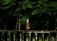 Woman Walking on Bridge Surrounded by Trees Royalty Free Stock Photo