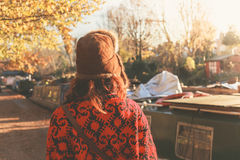 Woman walking by canal Stock Photography