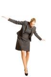 Woman walking carefully Royalty Free Stock Image