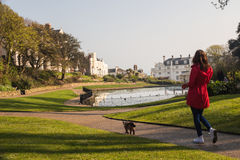 Woman walking with cat in amazing park. Friendship concept Royalty Free Stock Photos