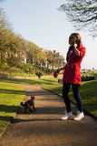 Woman walking with cat in beautiful park. Friendship concept Royalty Free Stock Images