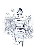 Woman walking at the Champs-Elysees. Avenue in Paris - Vector illustration Royalty Free Stock Photos