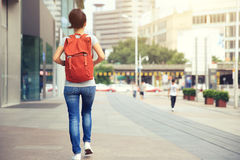 Woman walking on city street. Young asian woman walking on city street Stock Photography