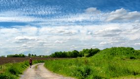 Woman walking in the countryside under cloudy sky stock image