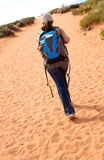 Woman walking the desert Royalty Free Stock Photos