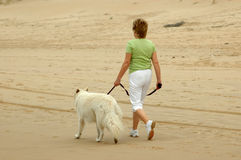 Woman walking dog Royalty Free Stock Image
