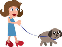 Woman Walking Dog Royalty Free Stock Images
