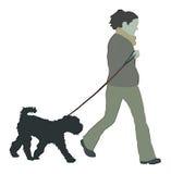 Woman walking dog. Illustration of a woman walking a dog Stock Photo