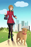 Woman walking dog. A vector illustration of a woman walking her dog in a park Stock Photo