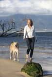 Woman walking dog. Royalty Free Stock Photo