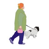 Woman walking dog. Active pensioner woman walking her dog on a leash Stock Photography