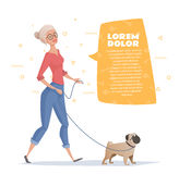 Woman is walking with a dog pug. A woman is walking with a dog pug. Woman with a text bubble. Vector illustration for a magazine, banner Royalty Free Stock Photo