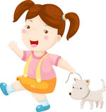 Woman walking dog vector Stock Photo