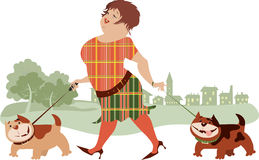 Woman Walking Dogs. An illustrated background of a woman walking dogs Stock Photography