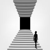 Woman walking down on staircase up and down concept Royalty Free Stock Images