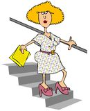 Woman walking down stairs. This illustration depicts a woman holding a handrail while walking down stairs Royalty Free Stock Image