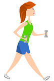 Woman Walking With Dumbbells. Woman training with dumbbells while fitness walking vector illustration