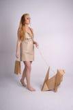Woman walking eco dog holding eco-friendly bag stock photos