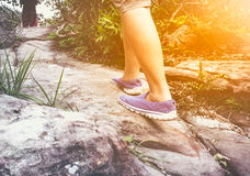 Woman walking exercise, motivational health concept, outdoors. Stock Images