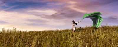 Woman walking by a field Royalty Free Stock Images