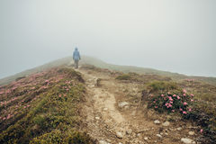 Woman walking in foggy mountain path Stock Photo