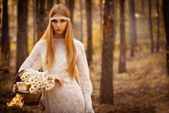 Woman walking at forest Royalty Free Stock Images