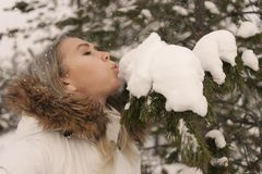Woman walking in winter forest royalty free stock images