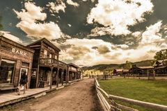 Woman walking through the Hag's Ranch Ridgeway Colorado. Hag's Ranch Legends of the West Rodeo Ridgway Colorado Royalty Free Stock Photo