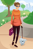 Woman walking with her dog. A vector illustration of modern woman walking with her dog in the park Stock Images