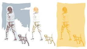 A woman walking with her dog / puppy Stock Images