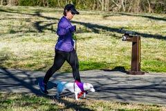 Woman Walking Her Dog - Roanoke Valley SPCA 5K Tail Chaser. Roanoke, VA – March 23rd: A walker walking her dog in annual Roanoke Valley SPCA 5K Tail royalty free stock image