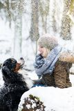 Woman walking her dog in the winter and both explore the snow to Royalty Free Stock Images