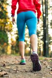 Woman walking and hiking in autumn forest. Sport shoes. Jogging, trekking or training outside in autumn nature. Inspiring health and fitness concept Royalty Free Stock Images