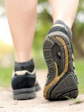 Woman walking on hiking trail. In forest, sport shoe closeup royalty free stock photo