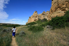Woman Walking on Hoodoo Trail Royalty Free Stock Photos