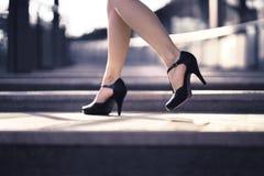 Free Woman Walking In High Heels In Urban City Street In Summer. Chic Stylish Footwear. Elegant Fashion Style. Stock Photography - 158418582