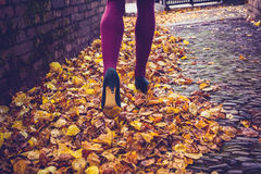 Woman walking through leaves Stock Photos