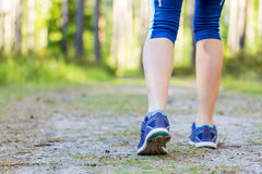 Woman walking legs in forest trail. Royalty Free Stock Images