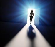 Woman walking into light vector illustration