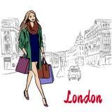 Woman walking in London. United Kingdom. Hand-drawn illustration. Fashion sketch vector illustration