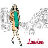 Woman walking in London. United Kingdom. Hand-drawn illustration. Fashion sketch royalty free illustration