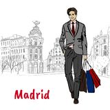 Woman in Madrid. Woman walking in Madrid, Spain. Hand-drawn illustration. Fashion sketch Royalty Free Stock Photo
