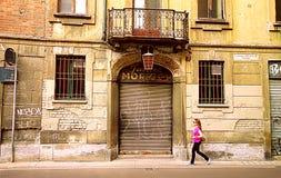 Woman Walking in Milan Royalty Free Stock Image