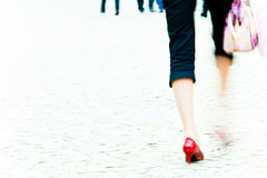 Woman walking - motion blur Royalty Free Stock Photos