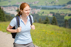 Woman Walking on Mountain Trail Royalty Free Stock Photo