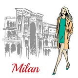 Woman walking near Milan Royalty Free Stock Images