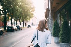 Woman Walking Near Road royalty free stock images