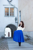 Woman walking in old town of Tallinn Royalty Free Stock Photos