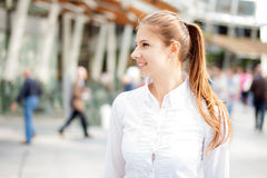 Woman walking outdoors Royalty Free Stock Photo